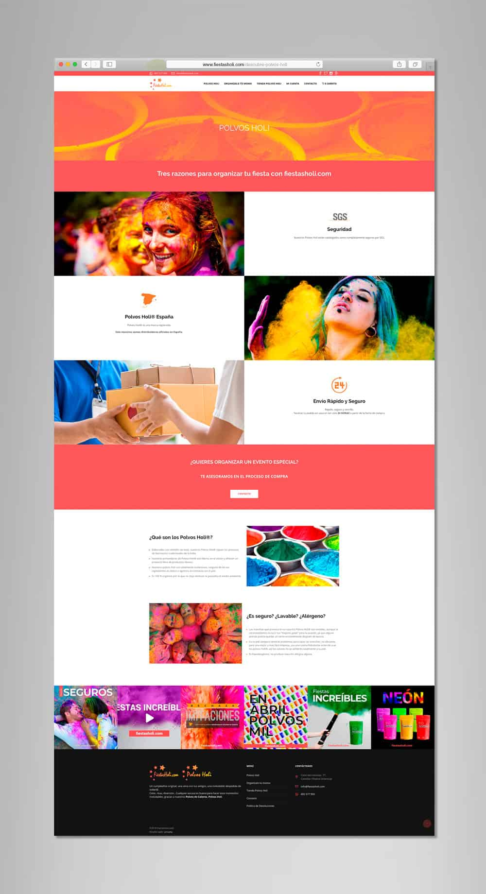 Fiestas Holi - Vista desktop - Polvos Holi
