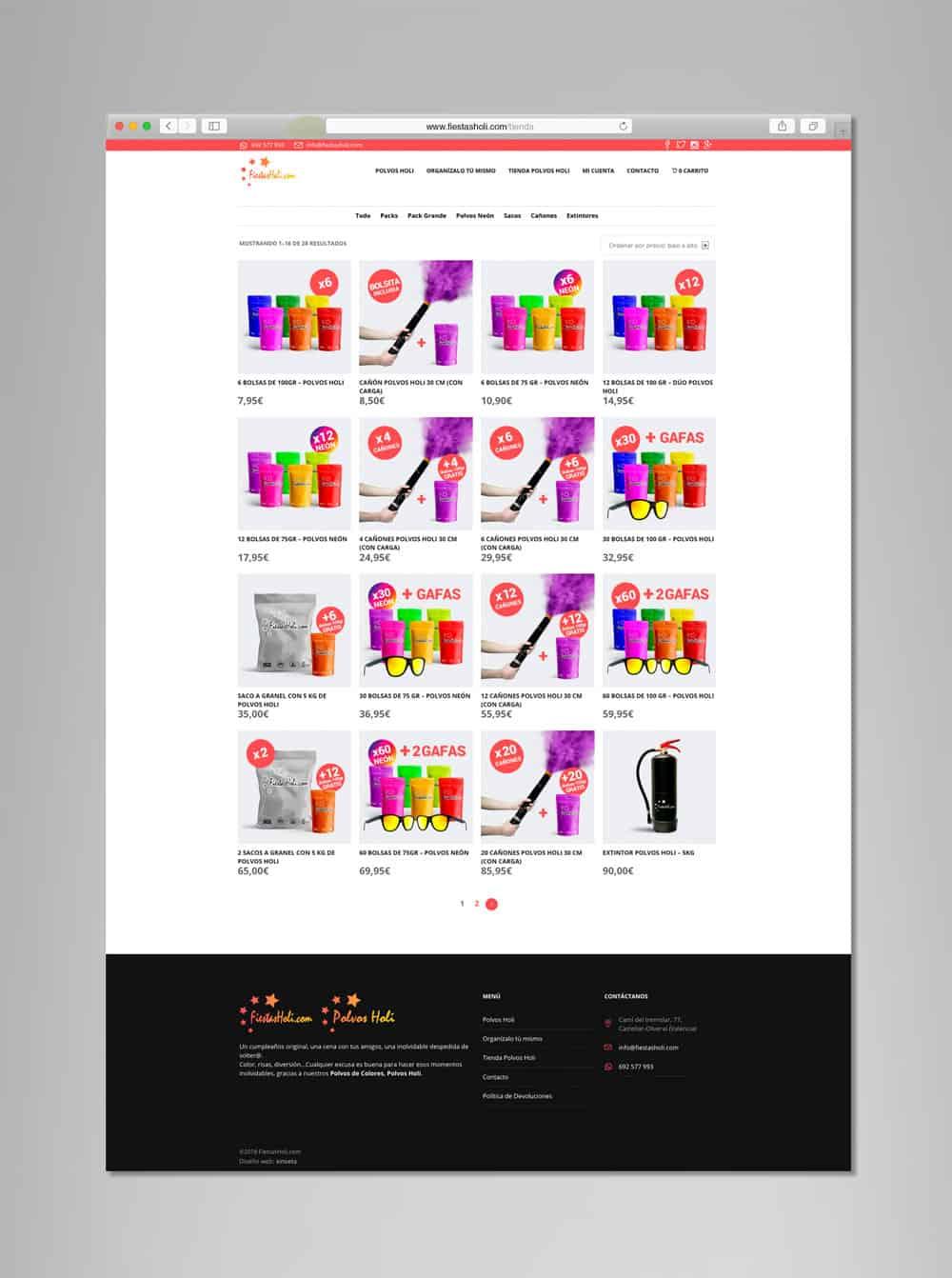 Fiestas Holi - Vista desktop - Tienda