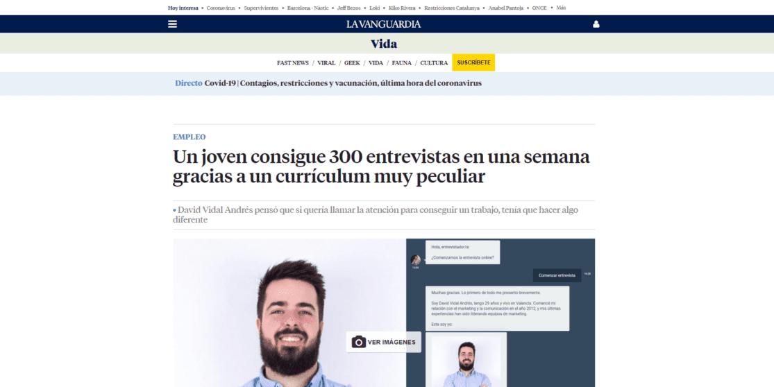 Nota de prensa entrevista online David Vidal Andrés