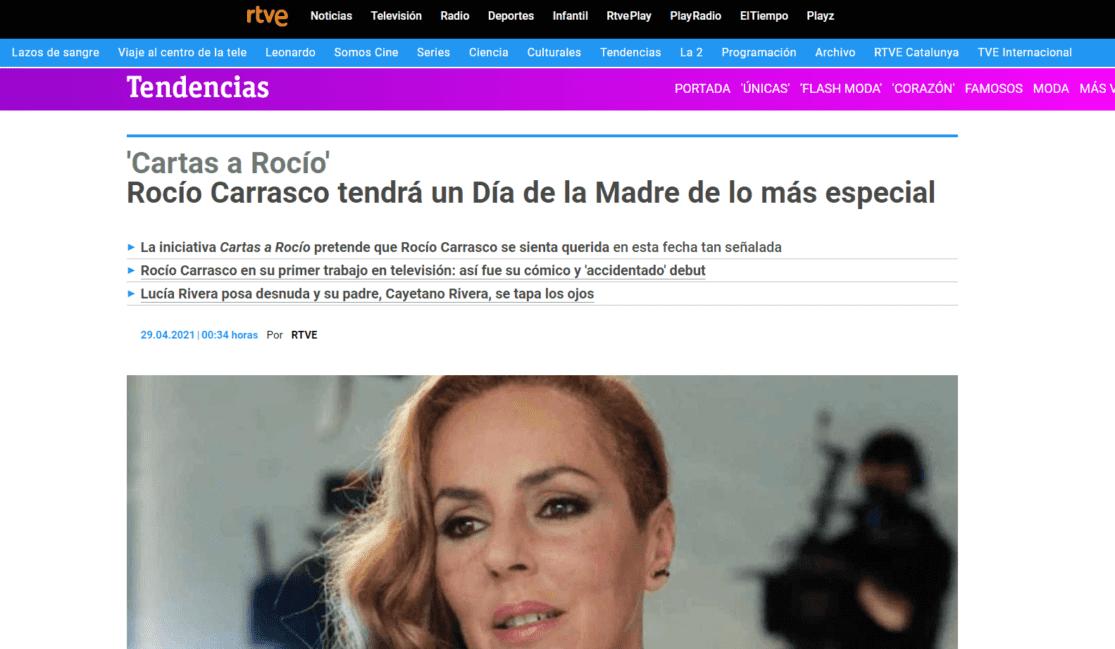 Aparición en RTVE con la nota de prensa de Cartas a Rocío